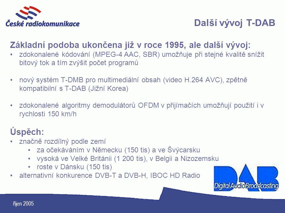 říjen 2005 Základní podoba ukončena již v roce 1995, ale další vývoj: zdokonalené kódování (MPEG-4 AAC, SBR) umožňuje při stejné kvalitě snížit bitový