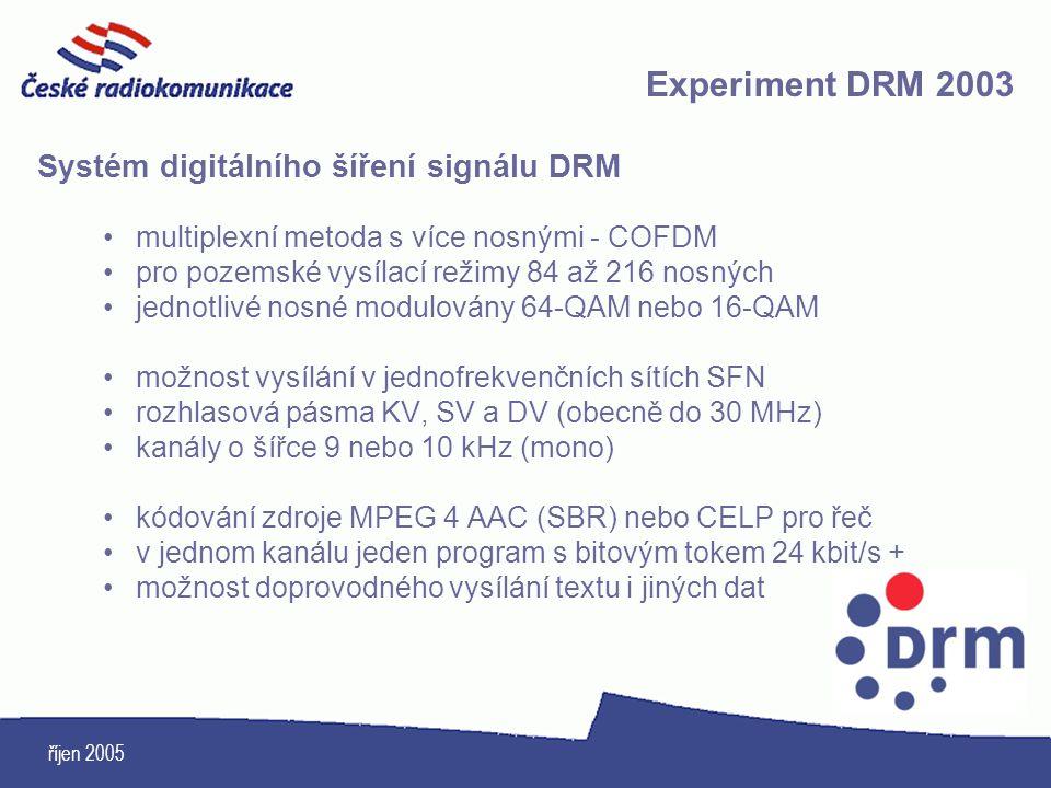 říjen 2005 Systém digitálního šíření signálu DRM multiplexní metoda s více nosnými - COFDM pro pozemské vysílací režimy 84 až 216 nosných jednotlivé n