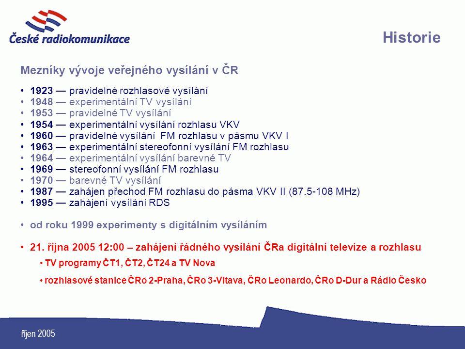 říjen 2005 Historie Mezníky vývoje veřejného vysílání v ČR 1923 — pravidelné rozhlasové vysílání 1948 — experimentální TV vysílání 1953 — pravidelné T