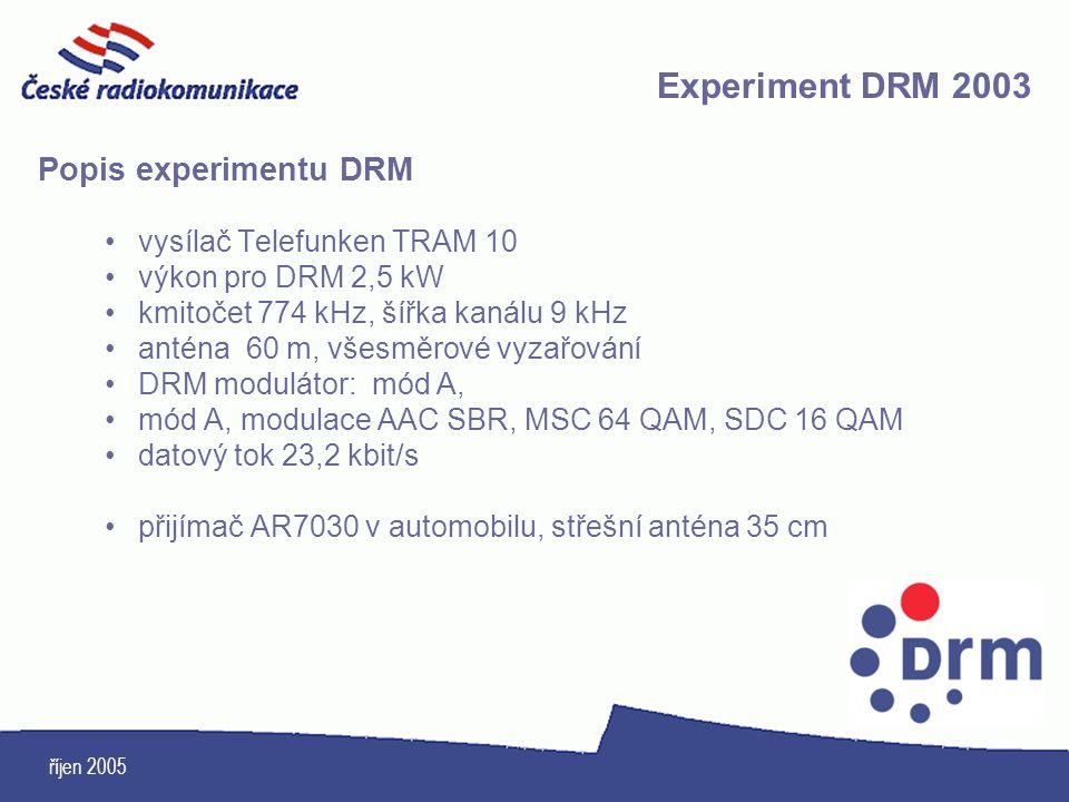 říjen 2005 Popis experimentu DRM vysílač Telefunken TRAM 10 výkon pro DRM 2,5 kW kmitočet 774 kHz, šířka kanálu 9 kHz anténa 60 m, všesměrové vyzařová