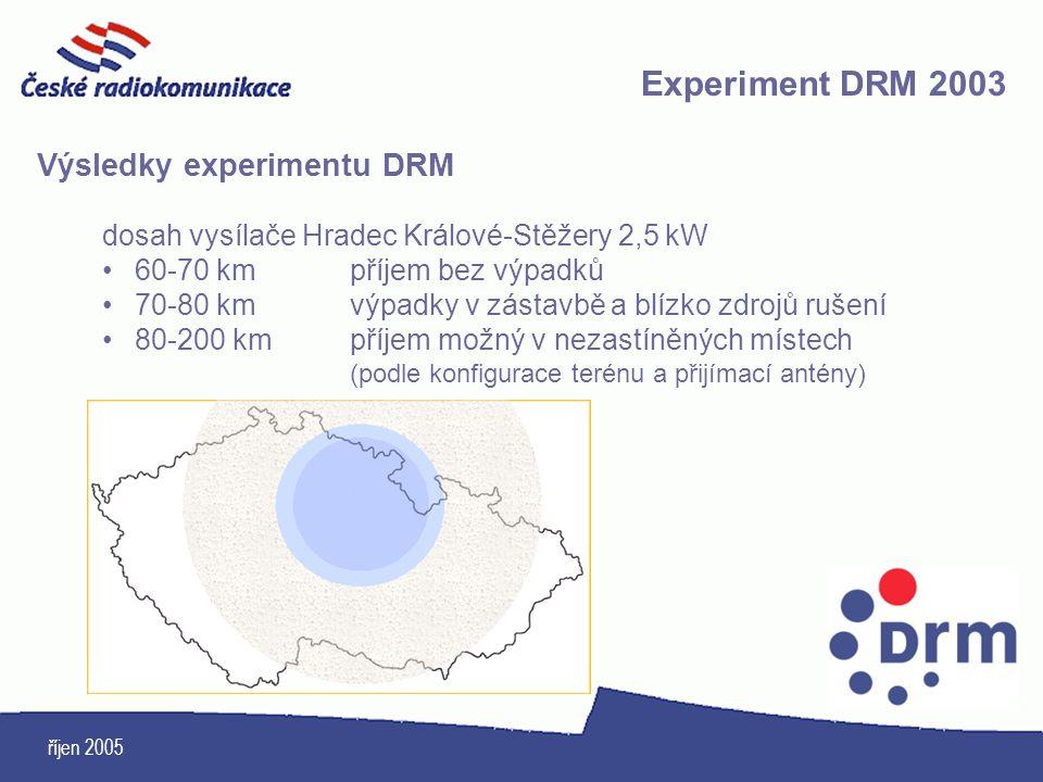 říjen 2005 Výsledky experimentu DRM dosah vysílače Hradec Králové-Stěžery 2,5 kW 60-70 kmpříjem bez výpadků 70-80 kmvýpadky v zástavbě a blízko zdrojů