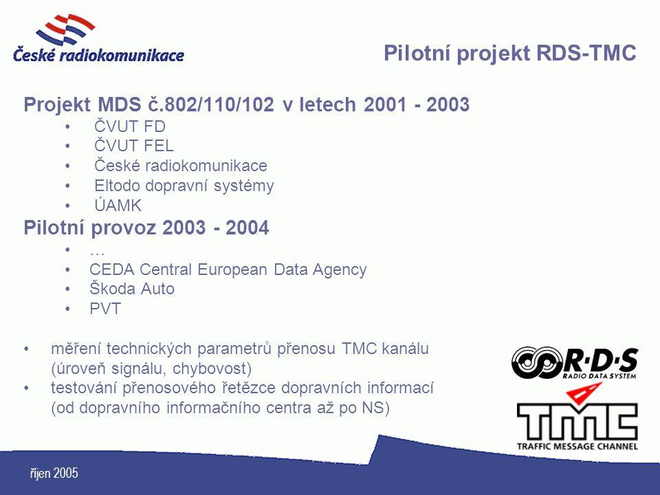 říjen 2005 Projekt MDS č.802/110/102 v letech 2001 - 2003 ČVUT FD ČVUT FEL České radiokomunikace Eltodo dopravní systémy ÚAMK Pilotní provoz 2003 - 20