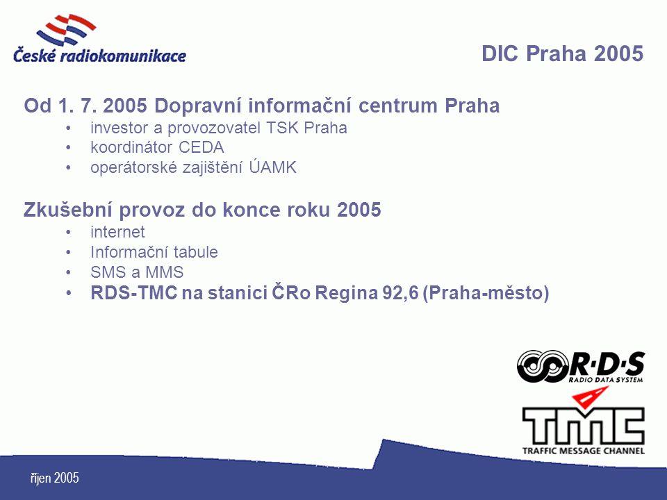 říjen 2005 DIC Praha 2005 Od 1. 7. 2005 Dopravní informační centrum Praha investor a provozovatel TSK Praha koordinátor CEDA operátorské zajištění ÚAM