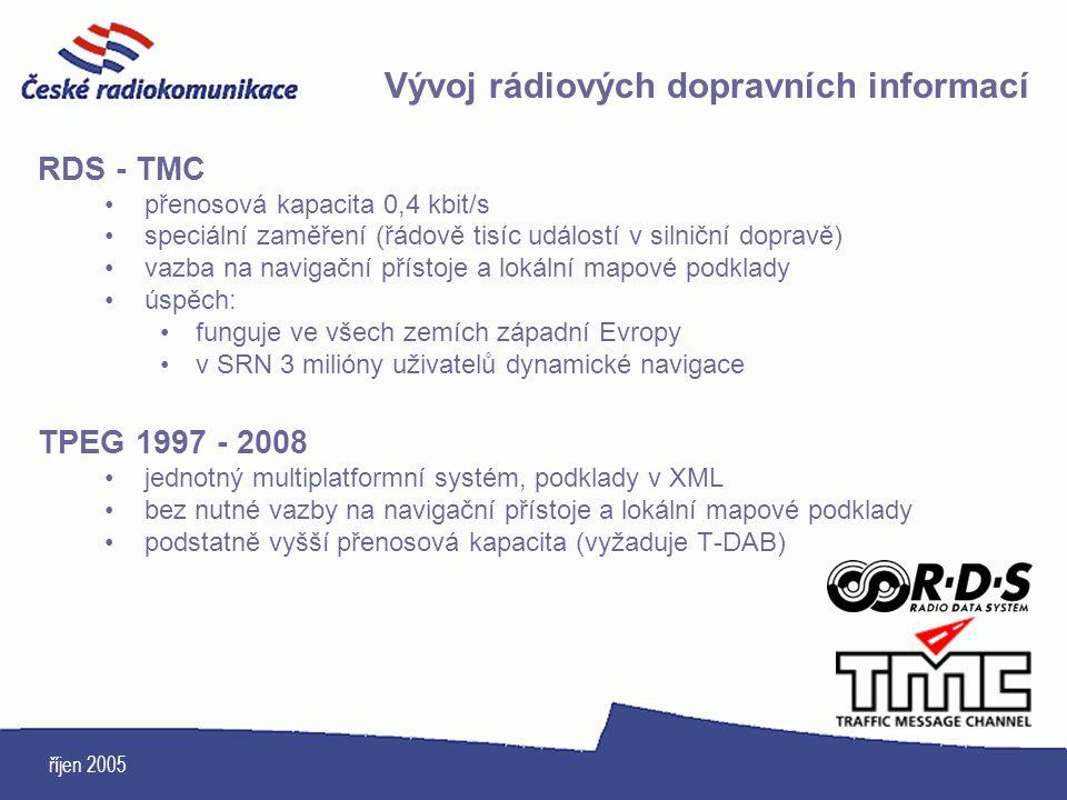 říjen 2005 Vývoj rádiových dopravních informací RDS - TMC přenosová kapacita 0,4 kbit/s speciální zaměření (řádově tisíc událostí v silniční dopravě)