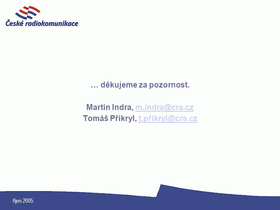 říjen 2005 … děkujeme za pozornost. Martin Indra, m.indra@cra.czm.indra@cra.cz Tomáš Přikryl, t.přikryl@cra.czt.přikryl@cra.cz