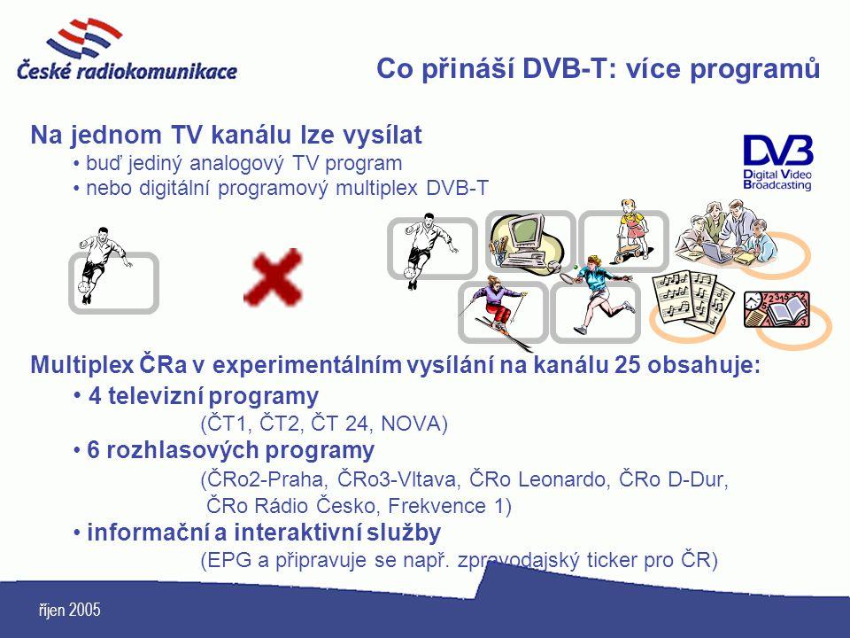 říjen 2005 Co přináší DVB-T: více programů Na jednom TV kanálu lze vysílat buď jediný analogový TV program nebo digitální programový multiplex DVB-T M