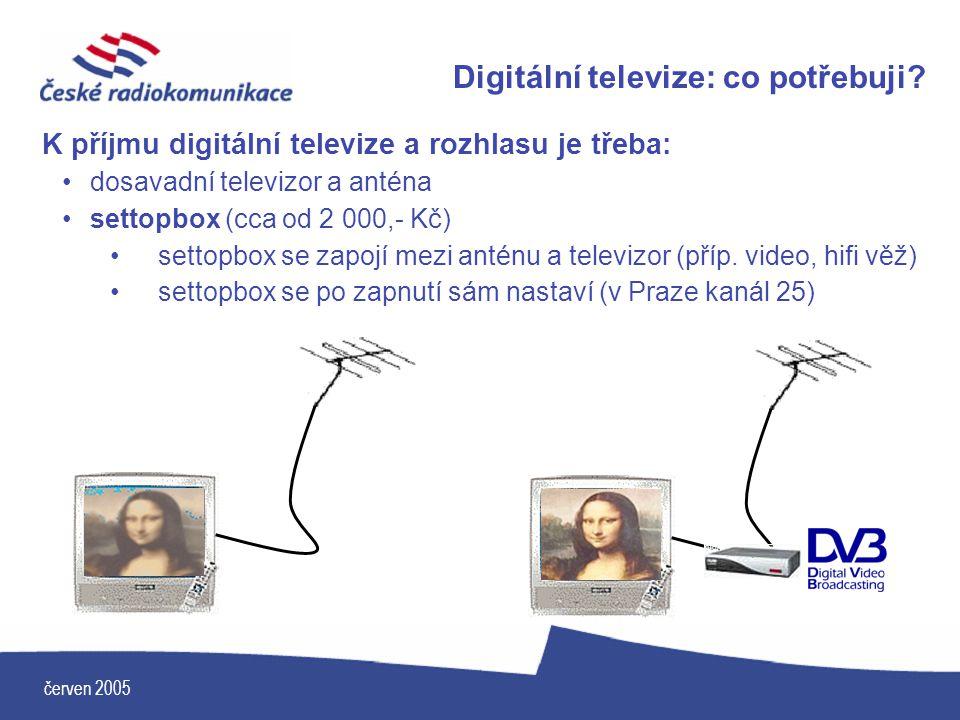 Digitální televize: co potřebuji? K příjmu digitální televize a rozhlasu je třeba: dosavadní televizor a anténa settopbox (cca od 2 000,- Kč) settopbo