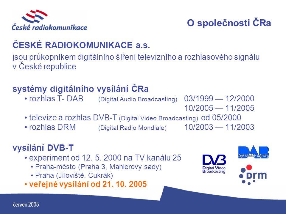 červen 2005 O společnosti ČRa ČESKÉ RADIOKOMUNIKACE a.s. jsou průkopníkem digitálního šíření televizního a rozhlasového signálu v České republice syst