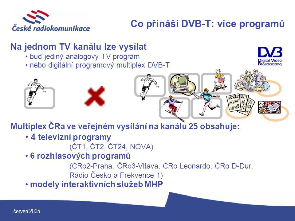 červen 2005 Co přináší DVB-T: více programů Na jednom TV kanálu lze vysílat buď jediný analogový TV program nebo digitální programový multiplex DVB-T