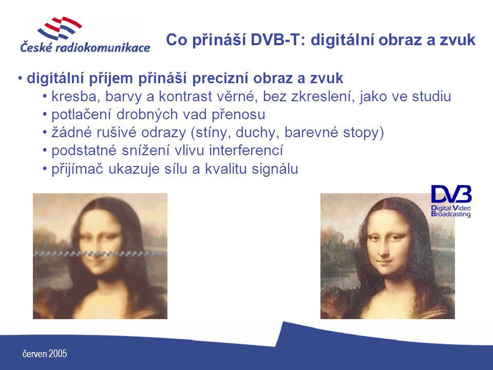 červen 2005 Co přináší DVB-T: digitální obraz a zvuk digitální příjem přináší precizní obraz a zvuk kresba, barvy a kontrast věrné, bez zkreslení, jak