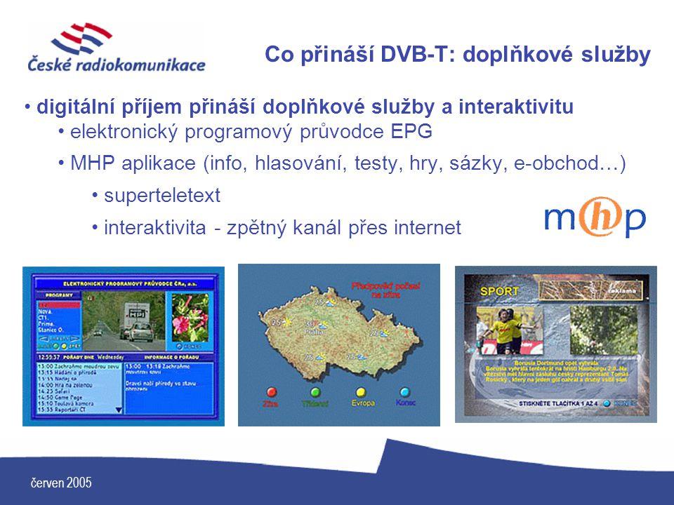 červen 2005 Co přináší DVB-T: doplňkové služby digitální příjem přináší doplňkové služby a interaktivitu elektronický programový průvodce EPG MHP apli