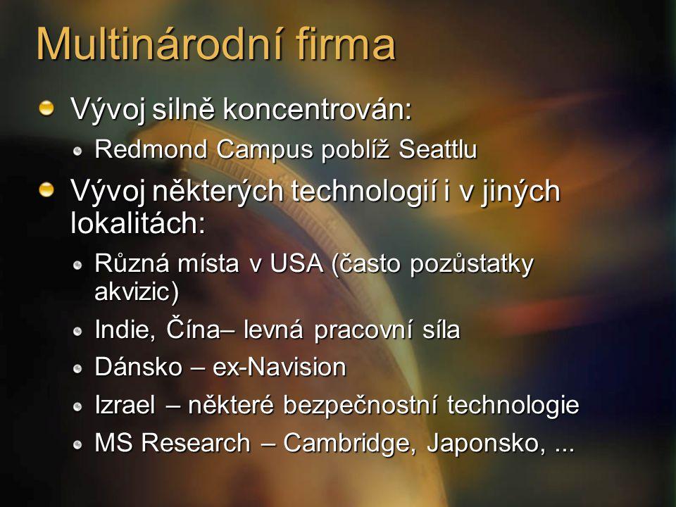 Multinárodní firma Vývoj silně koncentrován: Redmond Campus poblíž Seattlu Vývoj některých technologií i v jiných lokalitách: Různá místa v USA (často pozůstatky akvizic) Indie, Čína– levná pracovní síla Dánsko – ex-Navision Izrael – některé bezpečnostní technologie MS Research – Cambridge, Japonsko,...