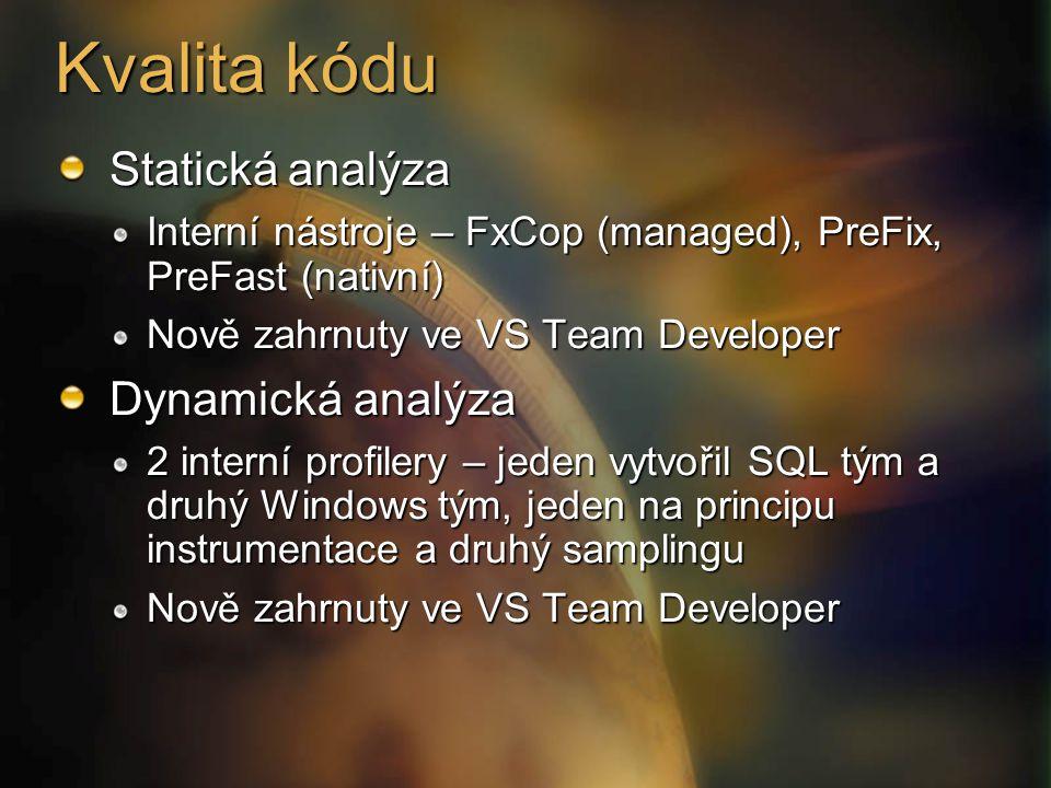 Kvalita kódu Statická analýza Interní nástroje – FxCop (managed), PreFix, PreFast (nativní) Nově zahrnuty ve VS Team Developer Dynamická analýza 2 interní profilery – jeden vytvořil SQL tým a druhý Windows tým, jeden na principu instrumentace a druhý samplingu Nově zahrnuty ve VS Team Developer