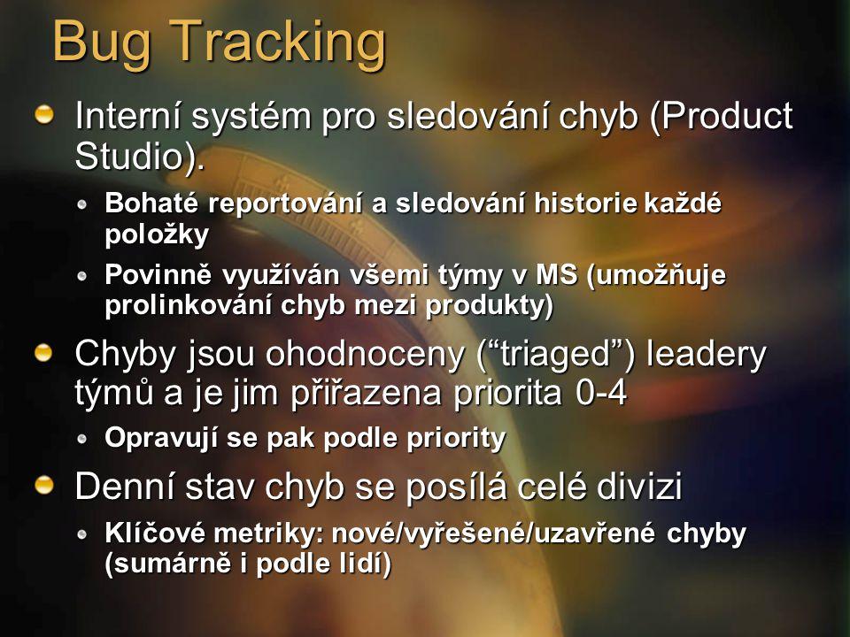 Bug Tracking Interní systém pro sledování chyb (Product Studio).