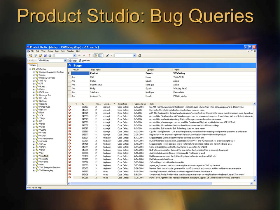 Product Studio: Bug Queries