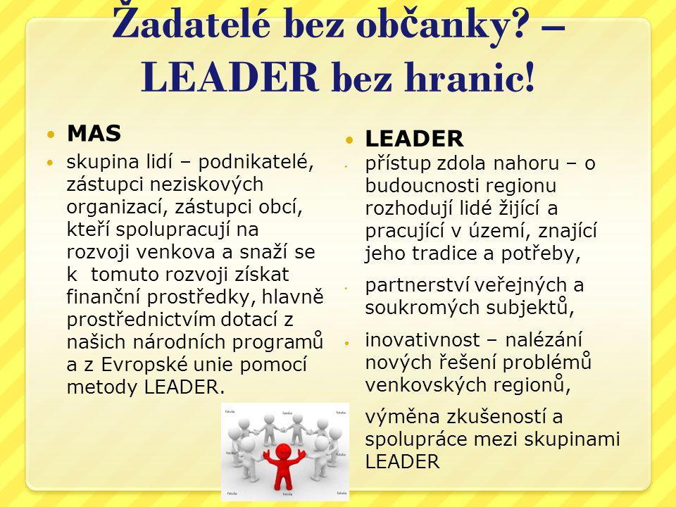Žadatelé bez ob č anky? – LEADER bez hranic! MAS skupina lidí – podnikatelé, zástupci neziskových organizací, zástupci obcí, kteří spolupracují na roz