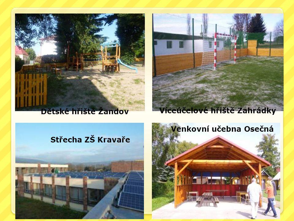 Dětské hřiště Žandov Víceúčelové hřiště Zahrádky Střecha ZŠ Kravaře Venkovní učebna Osečná