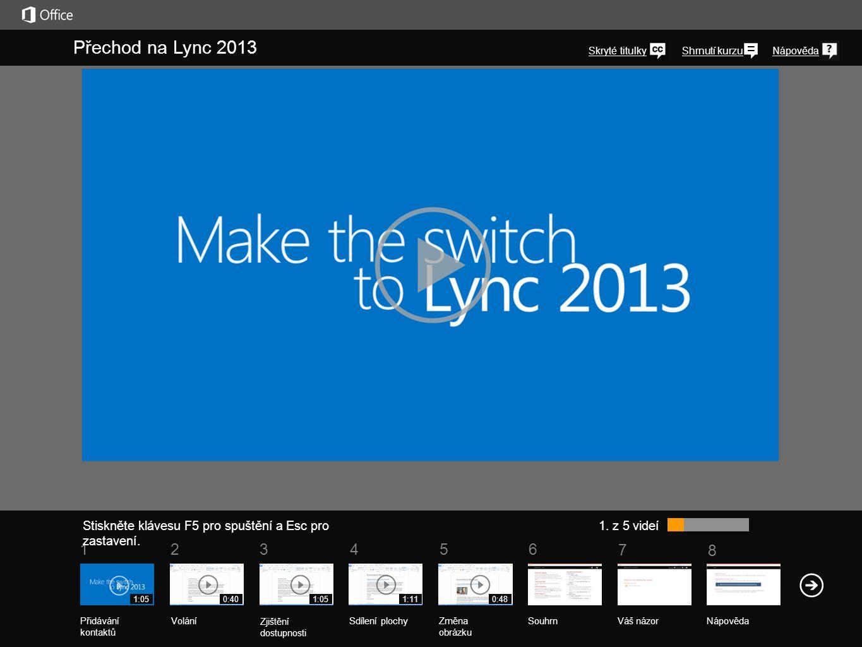 5 7 61234 Shrnutí kurzu 8 Nápověda Přechod na Lync 2013 Stiskněte klávesu F5 pro spuštění a Esc pro zastavení.