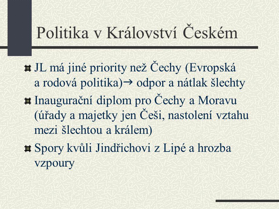 Politika v Království Českém JL má jiné priority než Čechy (Evropská a rodová politika)  odpor a nátlak šlechty Inaugurační diplom pro Čechy a Moravu