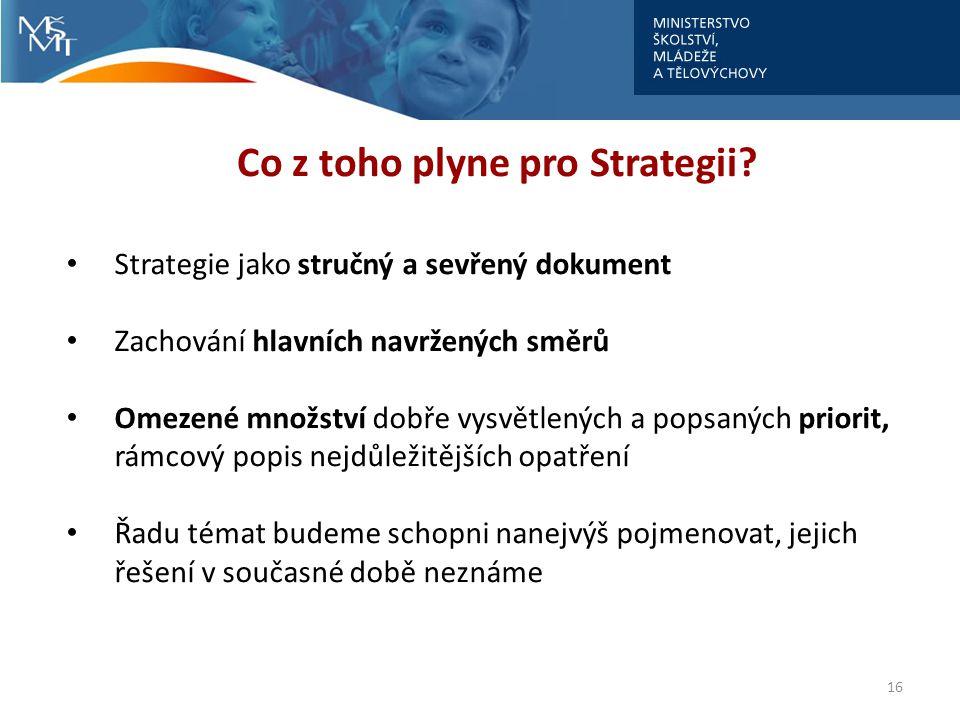 16 Co z toho plyne pro Strategii? Strategie jako stručný a sevřený dokument Zachování hlavních navržených směrů Omezené množství dobře vysvětlených a