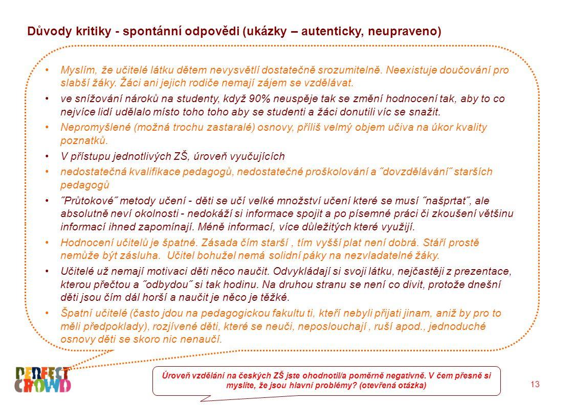13 Důvody kritiky - spontánní odpovědi (ukázky – autenticky, neupraveno) Úroveň vzdělání na českých ZŠ jste ohodnotil/a poměrně negativně. V čem přesn