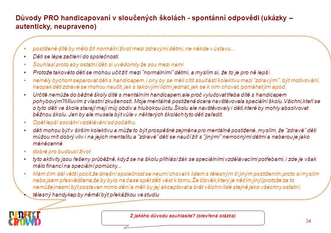 34 Důvody PRO handicapovaní v sloučených školách - spontánní odpovědi (ukázky – autenticky, neupraveno) postižené dítě by mělo žít normální život mezi