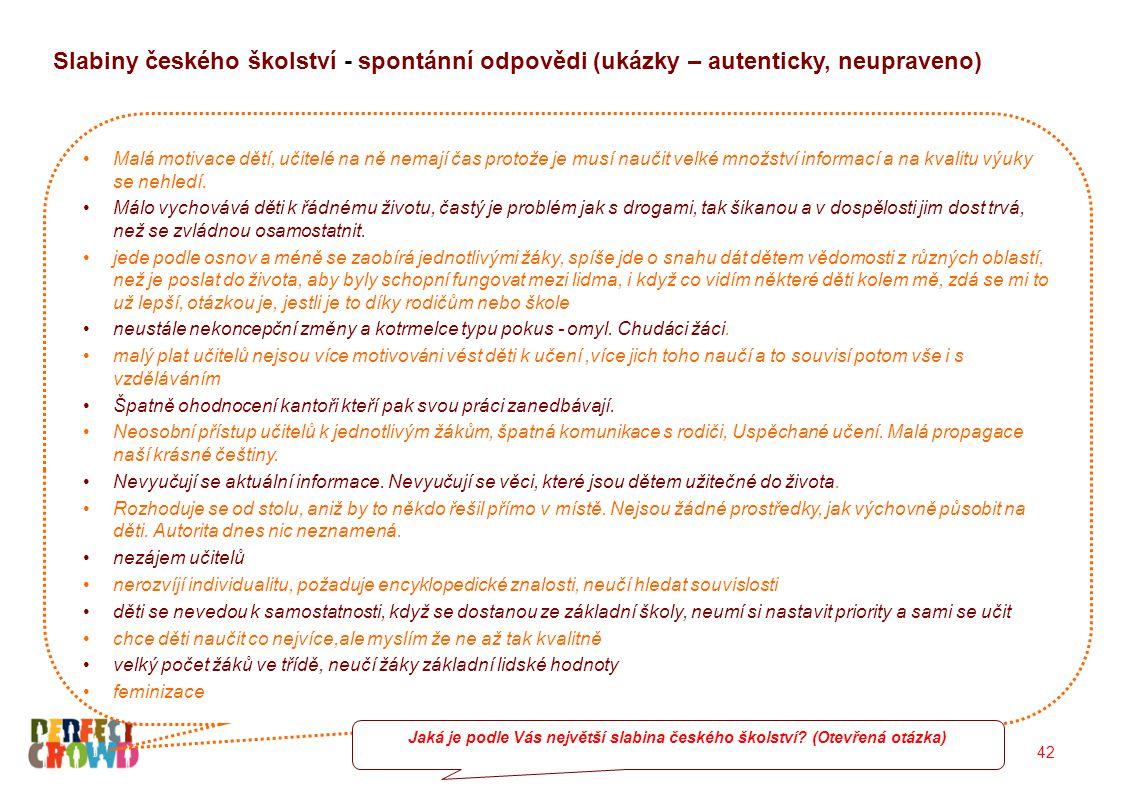 42 Slabiny českého školství - spontánní odpovědi (ukázky – autenticky, neupraveno) Malá motivace dětí, učitelé na ně nemají čas protože je musí naučit