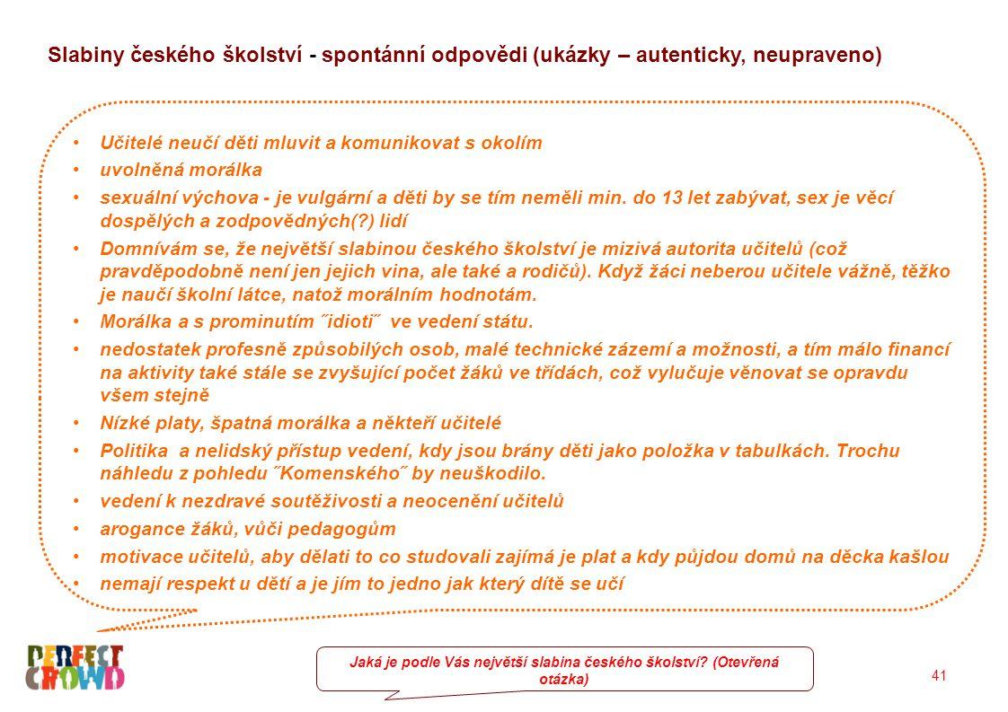 41 Slabiny českého školství - spontánní odpovědi (ukázky – autenticky, neupraveno) Učitelé neučí děti mluvit a komunikovat s okolím uvolněná morálka sexuální výchova - je vulgární a děti by se tím neměli min.