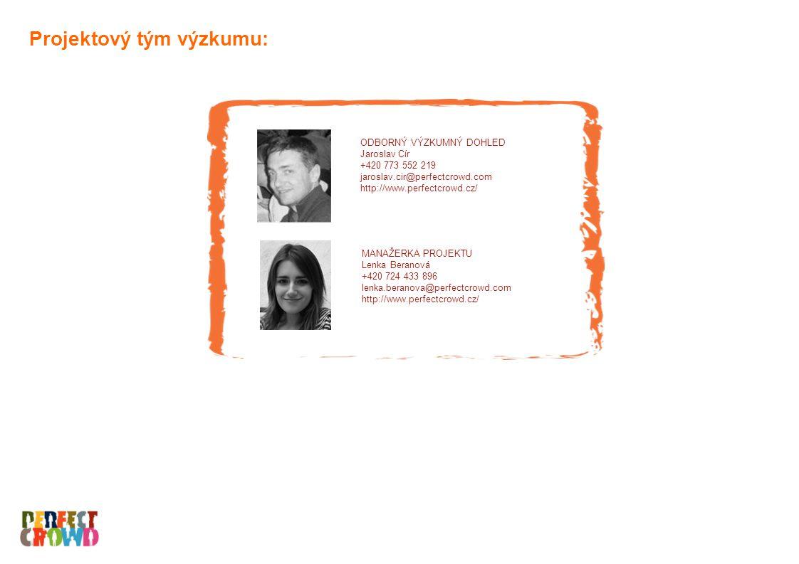 Projektový tým výzkumu: ODBORNÝ VÝZKUMNÝ DOHLED Jaroslav Cír +420 773 552 219 jaroslav.cir@perfectcrowd.com http://www.perfectcrowd.cz/ MANAŽERKA PROJEKTU Lenka Beranová +420 724 433 896 lenka.beranova@perfectcrowd.com http://www.perfectcrowd.cz/