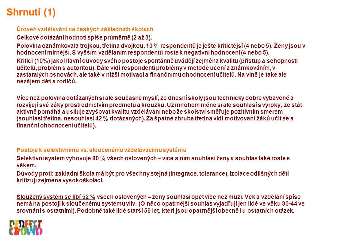 Úroveň vzdělávání na českých základních školách Celkově dotázání hodnotí spíše průměrně (2 až 3).