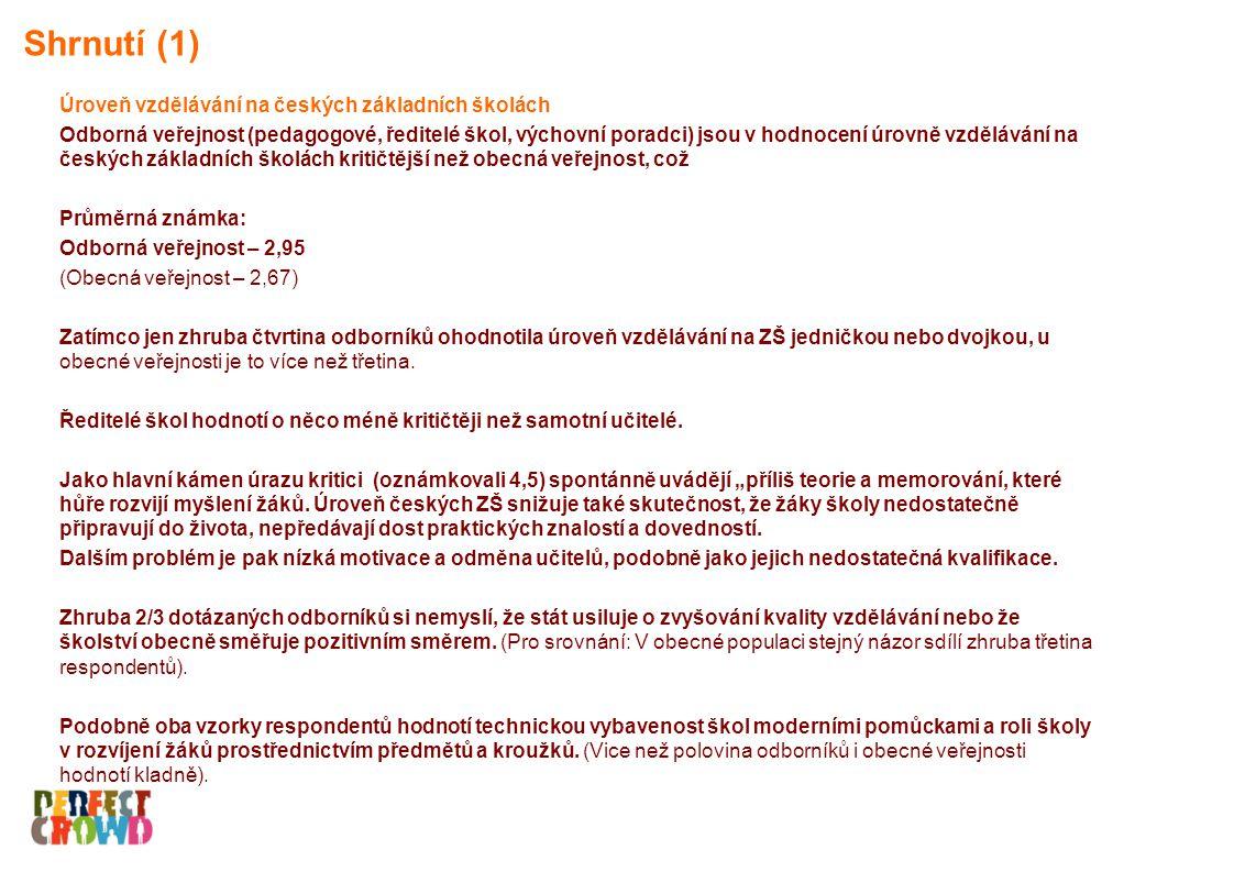 Finanční ohodnocení učitelů za špatné (4,5) považuje ¾ odborníků za špatné.