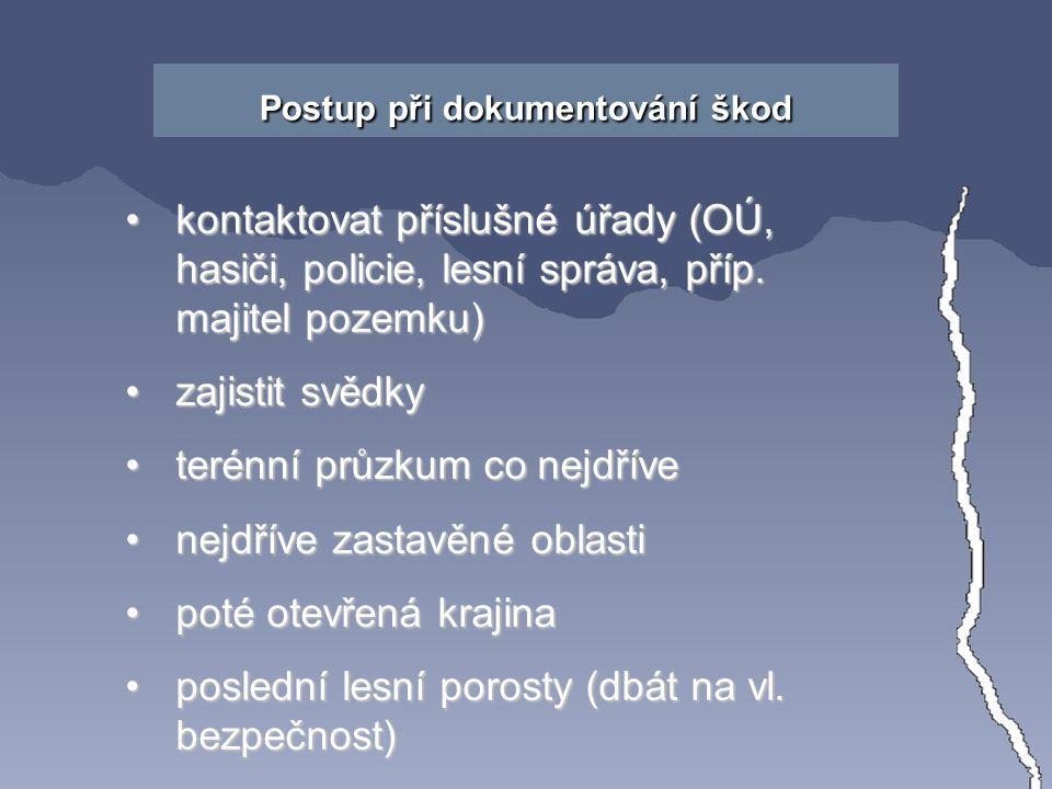 Postup při dokumentování škod kontaktovat příslušné úřady (OÚ, hasiči, policie, lesní správa, příp.