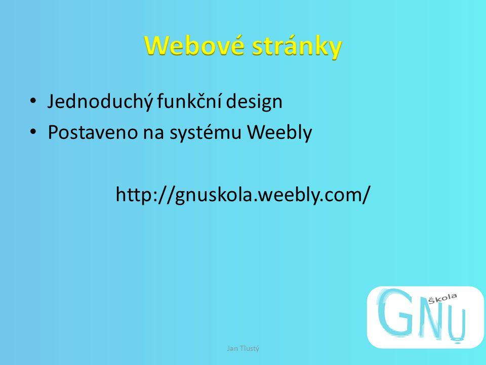 Jednoduchý funkční design Postaveno na systému Weebly http://gnuskola.weebly.com/ Jan Tlustý