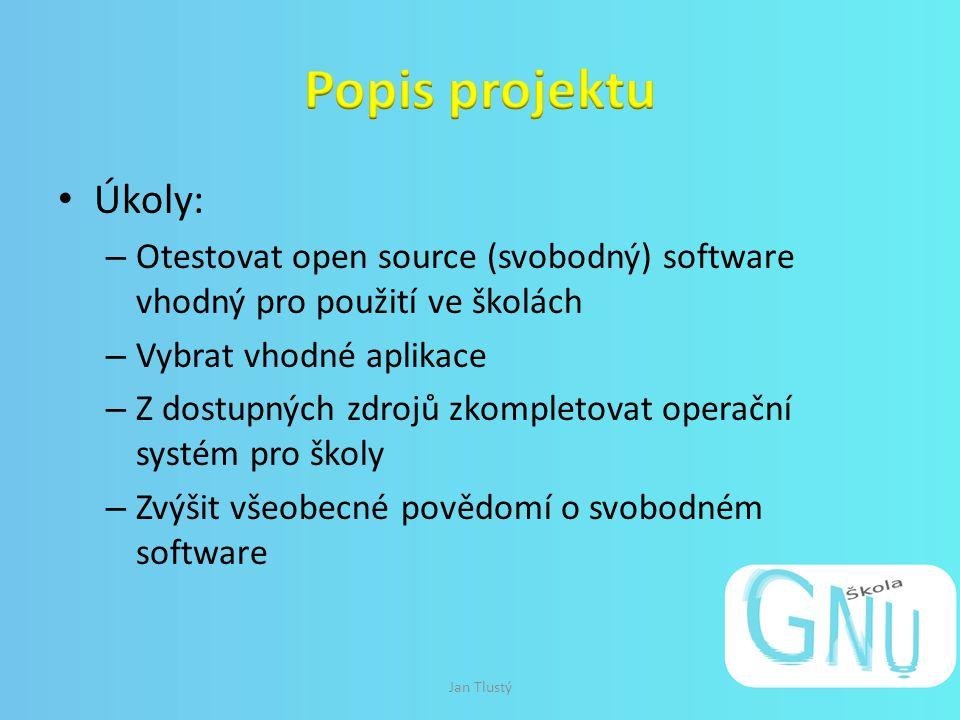 Úkoly: – Otestovat open source (svobodný) software vhodný pro použití ve školách – Vybrat vhodné aplikace – Z dostupných zdrojů zkompletovat operační systém pro školy – Zvýšit všeobecné povědomí o svobodném software Jan Tlustý