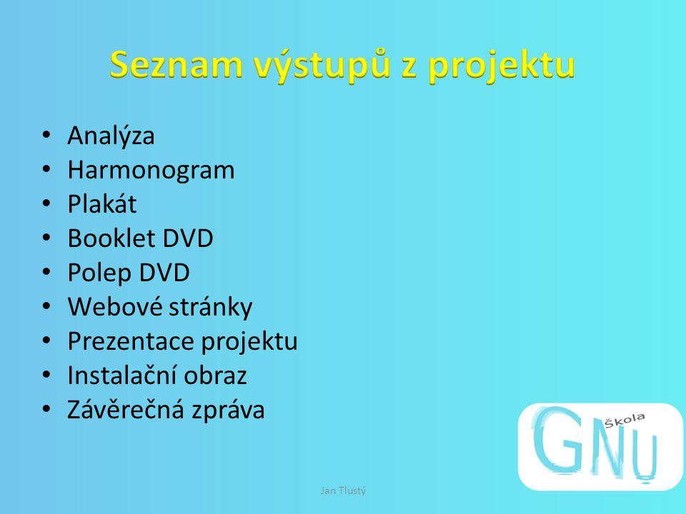 Analýza Harmonogram Plakát Booklet DVD Polep DVD Webové stránky Prezentace projektu Instalační obraz Závěrečná zpráva Jan Tlustý