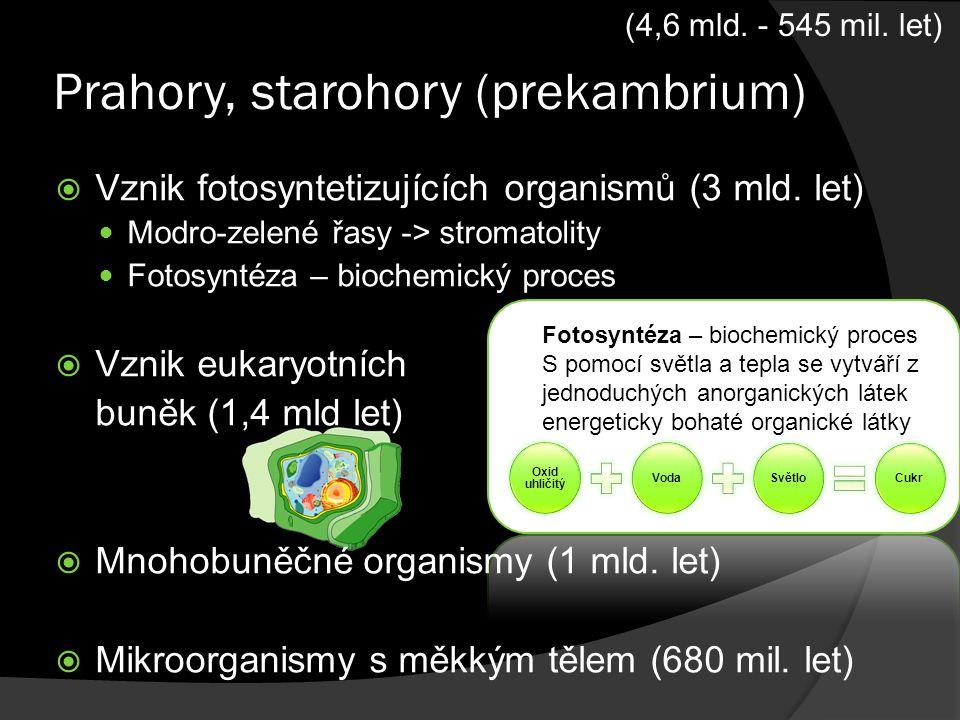 Prahory, starohory (prekambrium)  Vznik fotosyntetizujících organismů (3 mld. let) Modro-zelené řasy -> stromatolity Fotosyntéza – biochemický proces