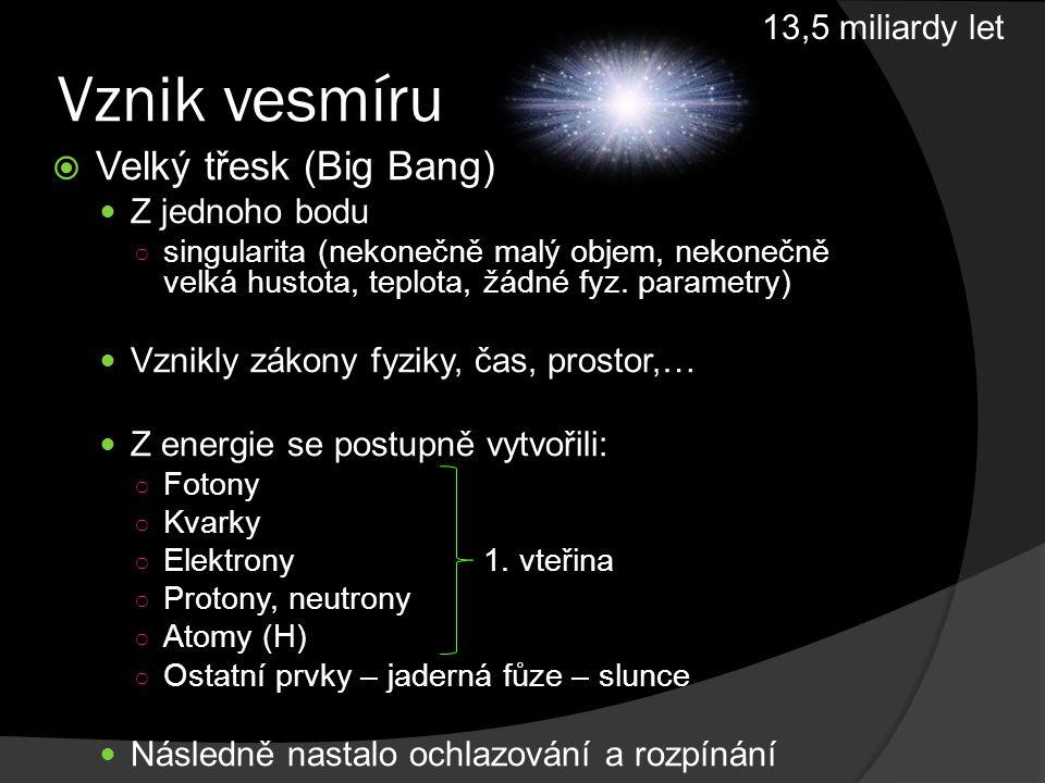 Vývoj Země  Prahory, starohory (prekambrium)  Prvohory (paleozoikum)  Druhohory (mezozoikum)  Třetihory (terciér)  Čtvrtohory (kvartér)