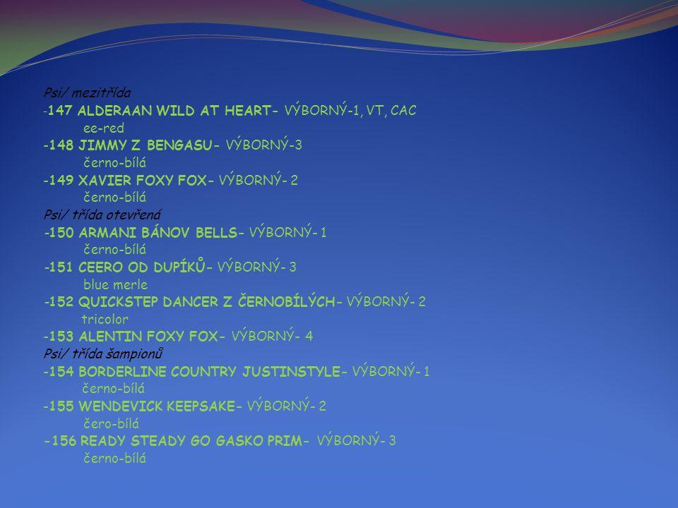Psi/ mezitřída - 147 ALDERAAN WILD AT HEART- VÝBORNÝ-1, VT, CAC ee-red -148 JIMMY Z BENGASU- VÝBORNÝ-3 černo-bílá -149 XAVIER FOXY FOX- VÝBORNÝ- 2 černo-bílá Psi/ třída otevřená -150 ARMANI BÁNOV BELLS- VÝBORNÝ- 1 černo-bílá -151 CEERO OD DUPÍKŮ- VÝBORNÝ- 3 blue merle -152 QUICKSTEP DANCER Z ČERNOBÍLÝCH- VÝBORNÝ- 2 tricolor -153 ALENTIN FOXY FOX- VÝBORNÝ- 4 Psi/ třída šampionů -154 BORDERLINE COUNTRY JUSTINSTYLE- VÝBORNÝ- 1 černo-bílá -155 WENDEVICK KEEPSAKE- VÝBORNÝ- 2 čero-bílá -156 READY STEADY GO GASKO PRIM- VÝBORNÝ- 3 černo-bílá