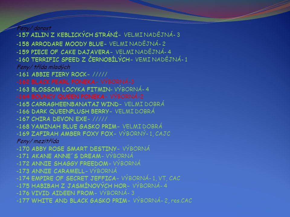 Feny/ dorost - 157 AILIN Z KEBLICKÝCH STRÁNÍ- VELMI NADĚJNÁ- 3 - 158 ARRODARE MOODY BLUE- VELMI NADĚJNÁ- 2 - 159 PIECE OF CAKE DAJAVERA- VELMI NADĚJNÁ- 4 - 160 TERRIFIC SPEED Z ČERNOBÍLÝCH- VEMI NADĚJNÁ- 1 Feny/ třída mladých -161 ABBIE FIERY ROCK- ///// -162 BLACK PEARL PONEKA- VÝBORNÁ-3 -163 BLOSSOM LOCYKA FITMIN- VÝBORNÁ- 4 -164 BOUNCY QUEEN PONEKA- VÝBORNÁ-2 -165 CARRAGHEENBANATAJ WIND- VELMI DOBRÁ -166 DARK QUEENPLUSH BERRY- VELMI DOBRÁ -167 CHIRA DEVON EXE- ///// -168 YAMINAH BLUE GASKO PRIM- VELMI DOBRÁ -169 ZAFIRAH AMBER FOXY FOX- VÝBORNÝ- 1, CAJC Feny/ mezitřída -170 ABBY ROSE SMART DESTINY- VÝBORNÁ -171 AKANE ANNE´S DREAM- VÝBORNÁ -172 ANNIE SHAGGY FREEDOM- VÝBORNÁ -173 ANNIE CARAMELL- VÝBORNÁ -174 EMPIRE OF SECRET JEFFICA- VÝBORNÁ- 1, VT, CAC -175 HABIBAH Z JASMÍNOVÝCH HOR- VÝBORNÁ- 4 -176 VIVID AIDEEN FROM- VÝBORNÁ- 3 -177 WHITE AND BLACK GASKO PRIM- VÝBORNÁ- 2, res.CAC