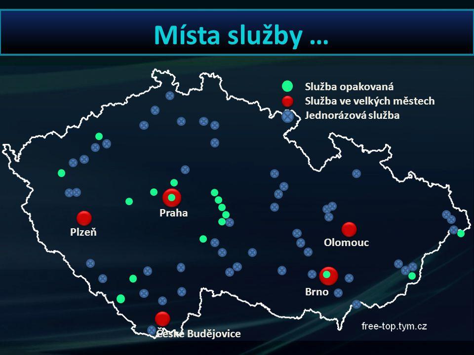 Praha Plzeň Olomouc Brno České Budějovice Místa služby … Služba opakovaná Služba ve velkých městech Jednorázová služba