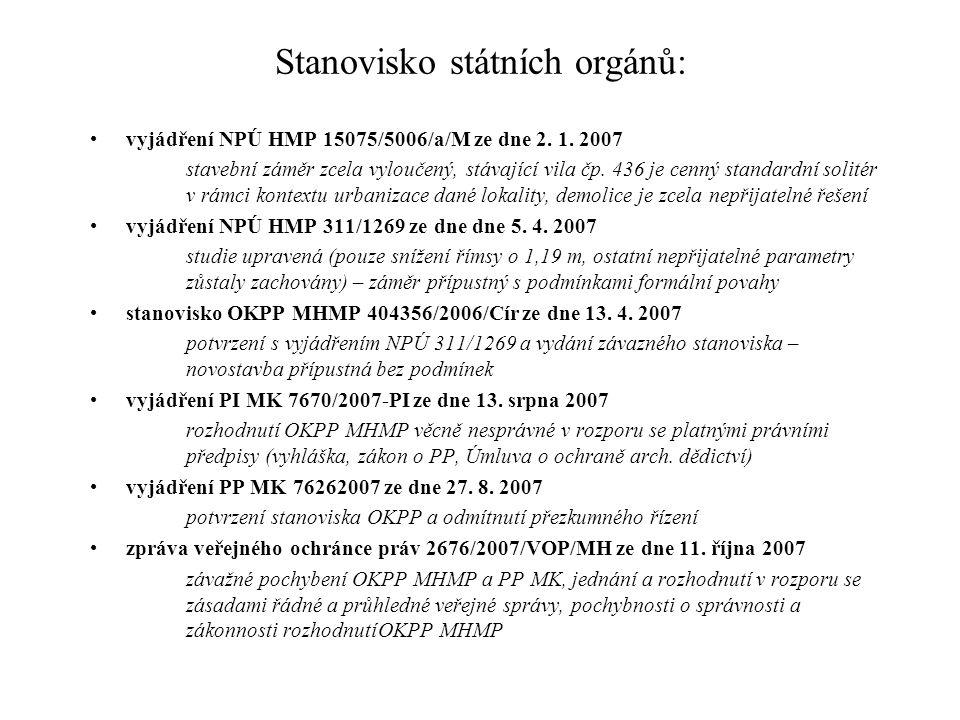 Stanovisko státních orgánů: vyjádření NPÚ HMP 15075/5006/a/M ze dne 2. 1. 2007 stavební záměr zcela vyloučený, stávající vila čp. 436 je cenný standar