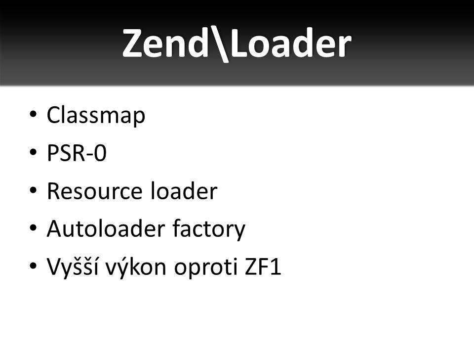 Classmap PSR-0 Resource loader Autoloader factory Vyšší výkon oproti ZF1