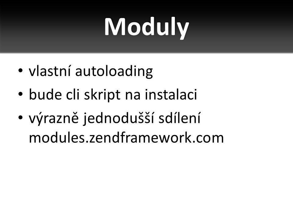 Moduly vlastní autoloading bude cli skript na instalaci výrazně jednodušší sdílení modules.zendframework.com