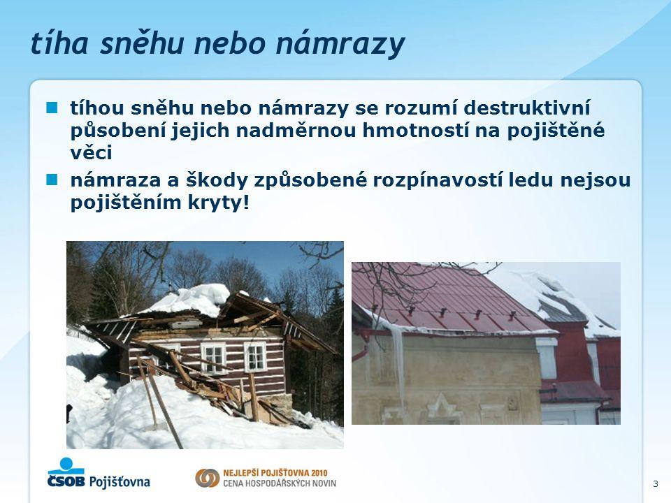3 tíha sněhu nebo námrazy tíhou sněhu nebo námrazy se rozumí destruktivní působení jejich nadměrnou hmotností na pojištěné věci námraza a škody způsobené rozpínavostí ledu nejsou pojištěním kryty!