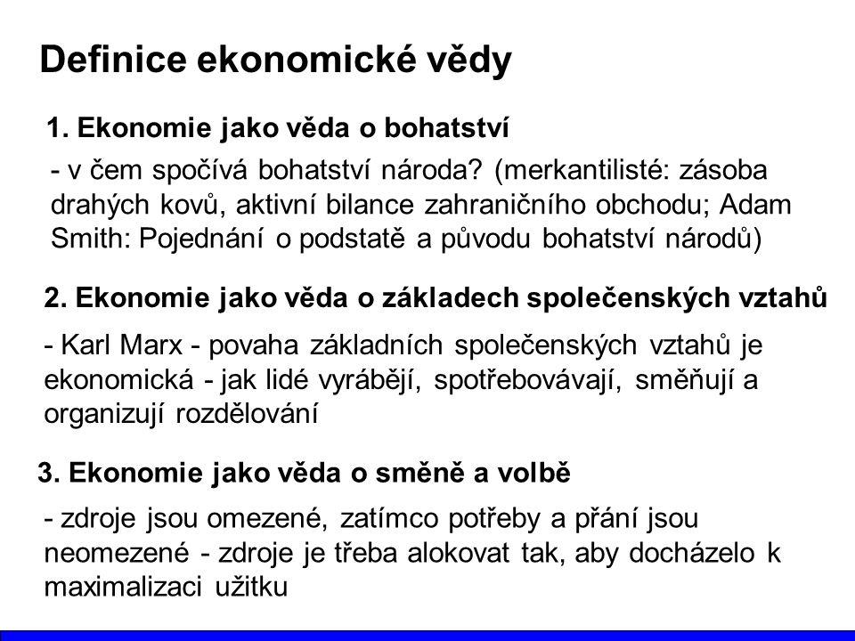 Definice ekonomické vědy 1. Ekonomie jako věda o bohatství - v čem spočívá bohatství národa? (merkantilisté: zásoba drahých kovů, aktivní bilance zahr