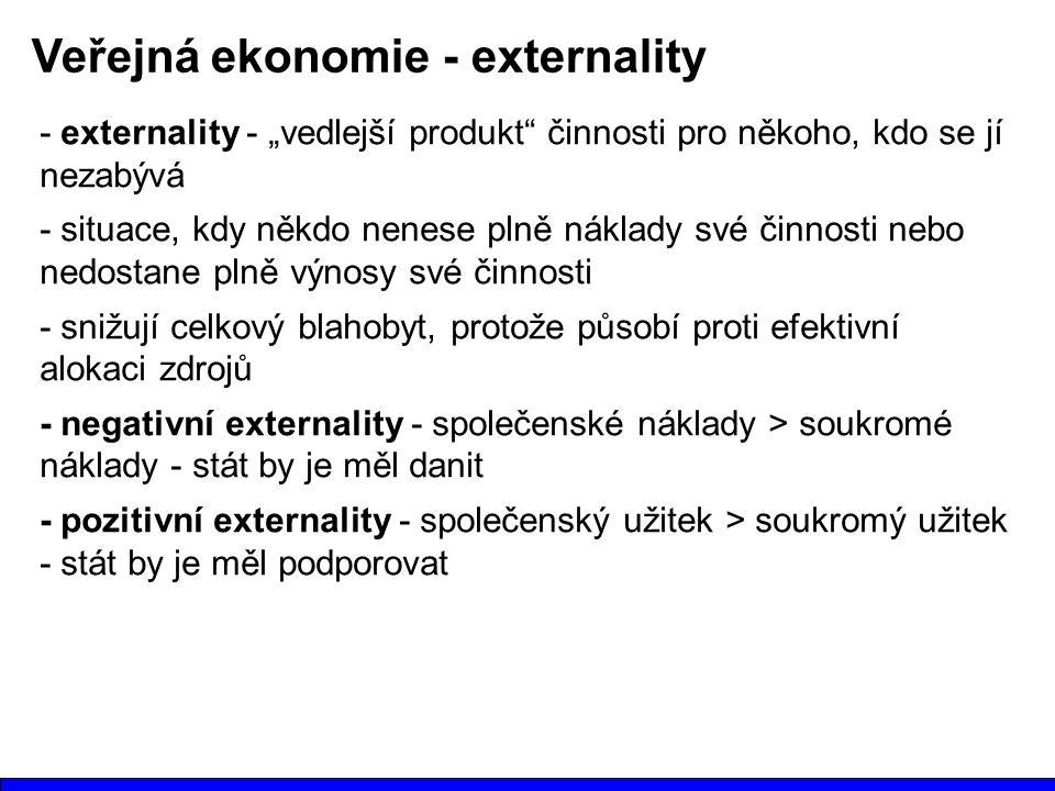 """Veřejná ekonomie - externality - externality - """"vedlejší produkt činnosti pro někoho, kdo se jí nezabývá - situace, kdy někdo nenese plně náklady své činnosti nebo nedostane plně výnosy své činnosti - snižují celkový blahobyt, protože působí proti efektivní alokaci zdrojů - negativní externality - společenské náklady > soukromé náklady - stát by je měl danit - pozitivní externality - společenský užitek > soukromý užitek - stát by je měl podporovat"""