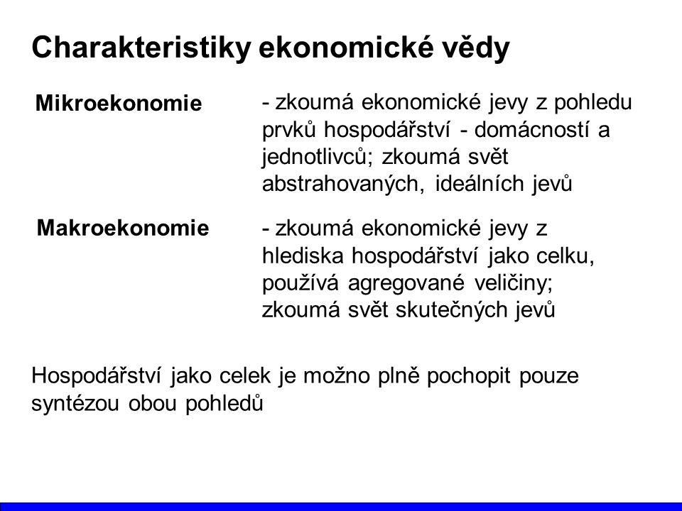 Charakteristiky ekonomické vědy Mikroekonomie - zkoumá ekonomické jevy z pohledu prvků hospodářství - domácností a jednotlivců; zkoumá svět abstrahova