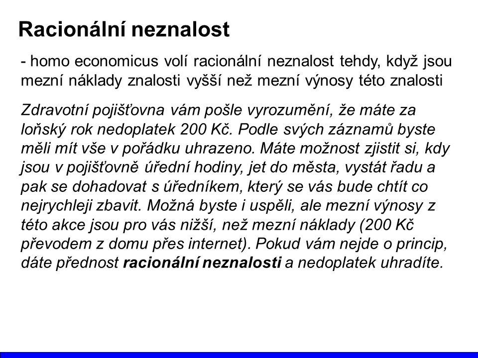 Racionální neznalost - homo economicus volí racionální neznalost tehdy, když jsou mezní náklady znalosti vyšší než mezní výnosy této znalosti Zdravotn