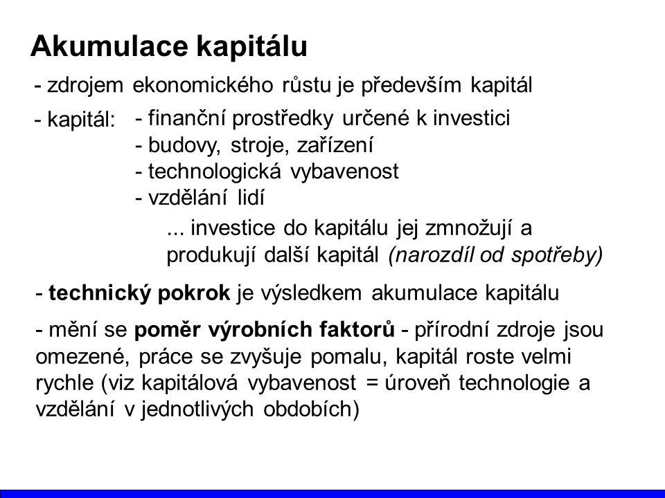 Akumulace kapitálu - zdrojem ekonomického růstu je především kapitál - kapitál: - finanční prostředky určené k investici - budovy, stroje, zařízení - technologická vybavenost - vzdělání lidí...