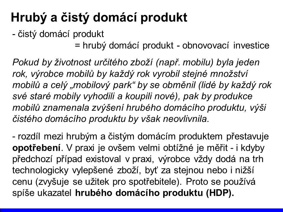 Hrubý a čistý domácí produkt Pokud by životnost určitého zboží (např.